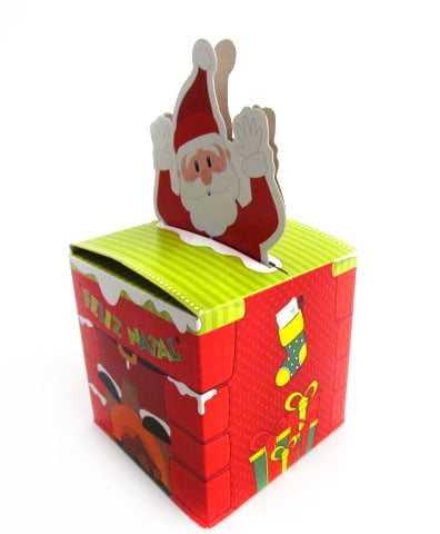 Caixa Chaminé Chegada Noel P 7x7x11,7cm Cromus