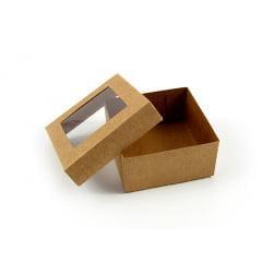 Caixa Kraft c/ Visor 8x8x4 cm - Agabox