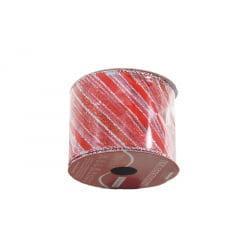 Fita de Organza Listras Vermelha 6,3cm - Cromus