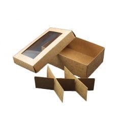 Caixa Kraft Acetato Visor para 6 Bombons 12x8x4 cm - Agabox