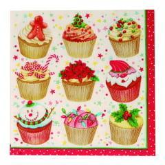 Guardanapo Decorado Cupcake de Natal c/20 Cromus