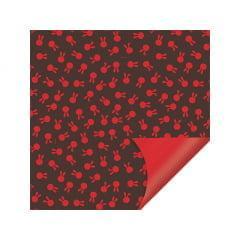 Papel Metalizado para Ovo de Páscoa 69x89 cm c/5 Vermelho - Coelhinhos - Cromus