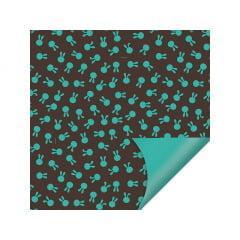Papel Metalizado para Ovo de Páscoa 69x89 cm c/5 Azul - Coelhinhos - Cromus