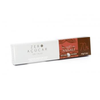Chocolate Vegano Amargo Zero Açúcar 70% 40g - Nugali