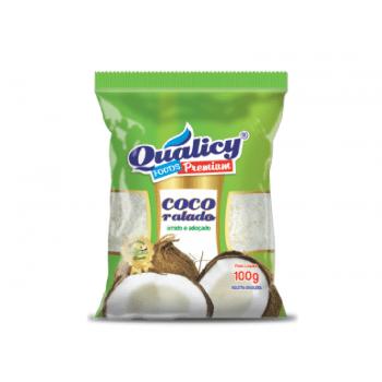 Coco Ralado Fino Úmido e Adoçado 100g - Qualicy