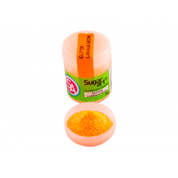 Glitter Comestível para Decoração Laranja Neon 5g - Sugar Art