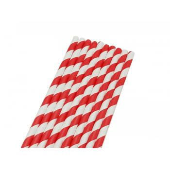 Canudo de Papel Listrado Vermelho e Branco c/ 50 unidades - Bwb