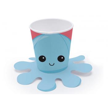 Copo Descartável Festa Fidget Toys Polvo Azul 240ml c/ 8 unidades - Cromus