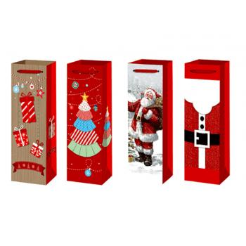 Sacola de Papel Decorada Natal 36x12x9 cm Unidade - Yangzi