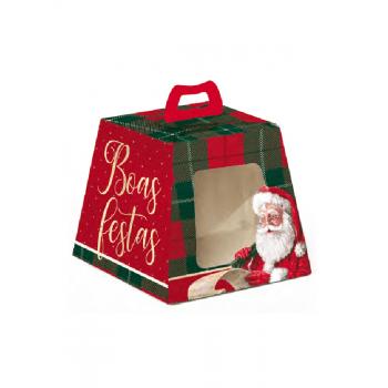 Caixa para Panetone 500g Noel Boas Festas c/Visor - Cromus