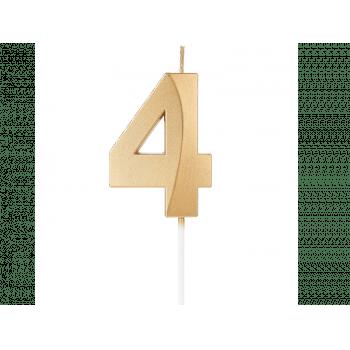Vela de Aniversário Dourada Design N4 - Silver Plastic