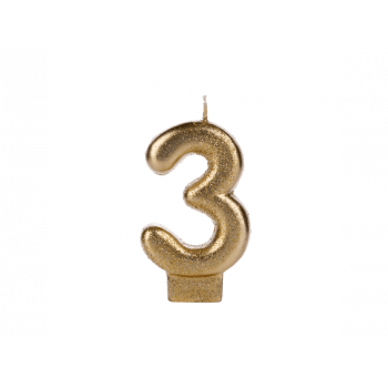 Vela de Aniversário Dourada Glitter N3 - Silver Plastic