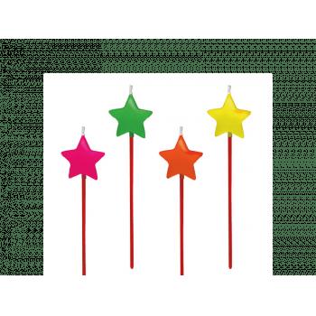 Vela de Aniversário Estrela Colorida c/ 4 unidades - Silver Plastic