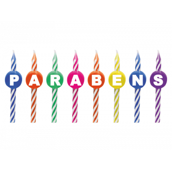 Vela de Aniversário Parabéns Colorida c/ 8 unidades - Silver Plastic