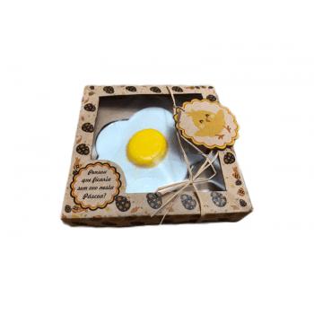 Caixa para Ovo Frito de Chocolate Kraft c/ 3 unidades – Pintinho Ovo