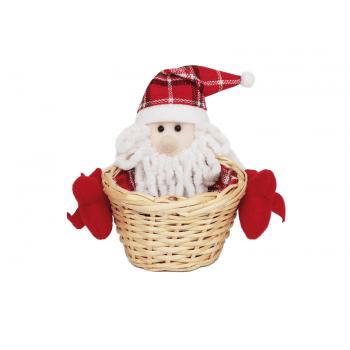 Cesto Decorado Natal Papai Noel 17x13 cm - Cromus